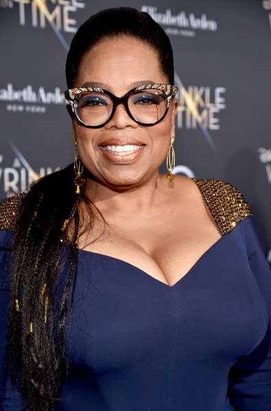 Oprah Winfrey styled her hair into a partially braided ponytail for the premiere of 'A Wrinkle in Time.'