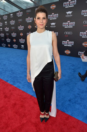 Marisa Tomei was minimalist-modern in a sleeveless white Juan Carlos Obando top with a floor-sweeping, asymmetrical hem during the world premiere of 'Captain America: Civil War.'