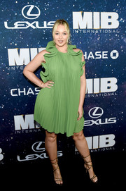 Iskra Lawrence donned a pleated green dress with a ruffle collar for the world premiere of 'Men in Black: International.'