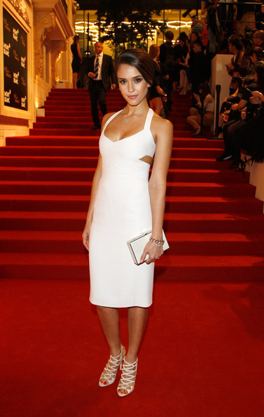 Jessica Alba's White Hot Narciso Rodriguez Cutout Number