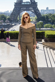 Jessica Chastain attended the 'X-Men: Dark Phoenix' photocall in Paris wearing a tan off-the-shoulder top by Ralph Lauren.