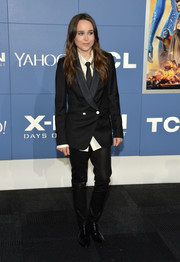 Ellen Page rocked a black double-breasted Band of Outsiders tux jacket with a pair of leather pants at the 'X-Men' world premiere.