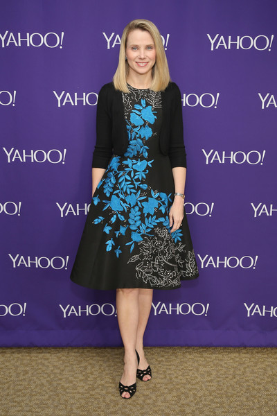 Marissa Mayer looked lovely in her floral-embroidered cocktail dress and black cardigan during the Yahoo Newfronts event.