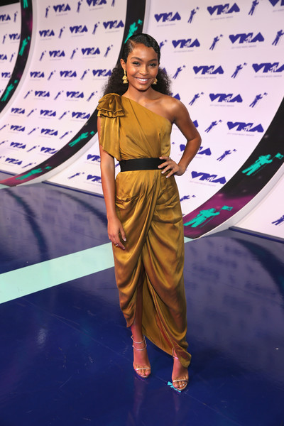 Yara Shahidi One Shoulder Dress