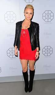 Hayden Panettiere looked fierce in a collarless black leather jacket and a red hot mini dress.