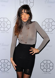 Was Paz de la Huerta trying to start a trend with this tight black mini skirt and lacy bicycle shorts combo?
