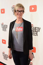 Danielle Tiedt dressed up her casual YouTube tee with a black blazer at 'The Big Live Comedy Show.'