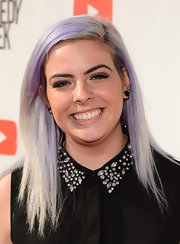 Mavis Slade looked cool at 'The Big Live Comedy Show' with her sleek straight lavender hair.