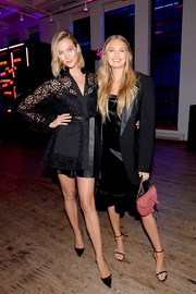 Karlie Kloss was classic and chic in a little black lace dress at the YouTube.com/Fashion launch.