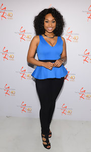 Angell Conwell chose basic black skinny pants for her look at 'The Young and the Restless' anniversary party.