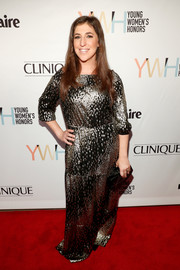 Mayim Bialik went glam in a black and gold gown for the Marie Claire Young Women's Honors.