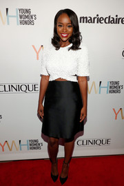 Aja Naomi King attended the Marie Claire Young Women's Honors wearing a black-and-white dress with a midriff cutout.