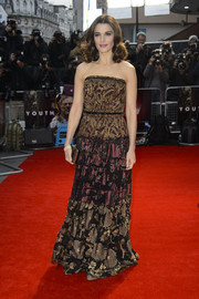 Rachel Weisz worked the 'Youth' red carpet at the BFI London Film Fest in a mixed-pattern strapless gown by Lanvin.