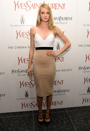 Lindsay Ellingson showed off her supermodel figure in a tight-fitting tricolor cami dress during the premiere of 'Yves Saint Laurent.'