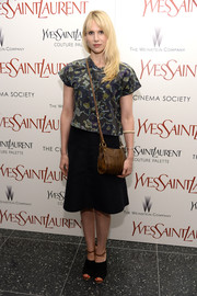 Lucy Punch chose a simple print blouse for the premiere of 'Yves Saint Laurent.'