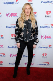 Ellie Goulding rocked an embroidered bomber jacket during Z100's Jingle Ball 2016.