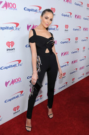 Olivia Culpo looked foxy in an embellished black cutout catsuit by Zuhair Murad during Z100's Jingle Ball 2016.