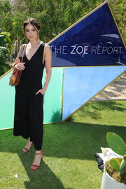 Olivia Culpo opted for a sleeveless black jumpsuit with a deep-V neckline when she attended the ZOEasis event.