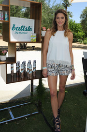 Ashley Greene teamed her top with cute tribal-print shorts.