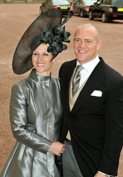 Zara Phillips Decorative Hat [suit,formal wear,outerwear,fashion,event,smile,flooring,tuxedo,carpet,fun,mike tindall,prince william,zara phillips,catherine middleton,service,marriage,buckingham palace,london,royal wedding - evening celebrations,wedding reception]