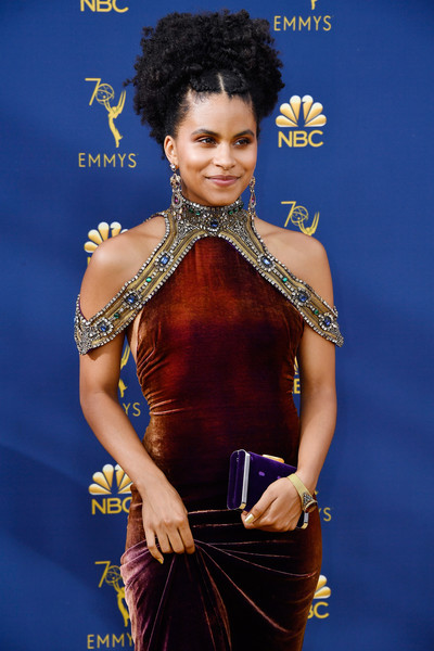 Zazie Beetz Velvet Clutch [hairstyle,fashion,beauty,carpet,shoulder,model,fashion design,dress,fashion model,electric blue,arrivals,zazie beetz,emmy awards,70th emmy awards,microsoft theater,los angeles,california]