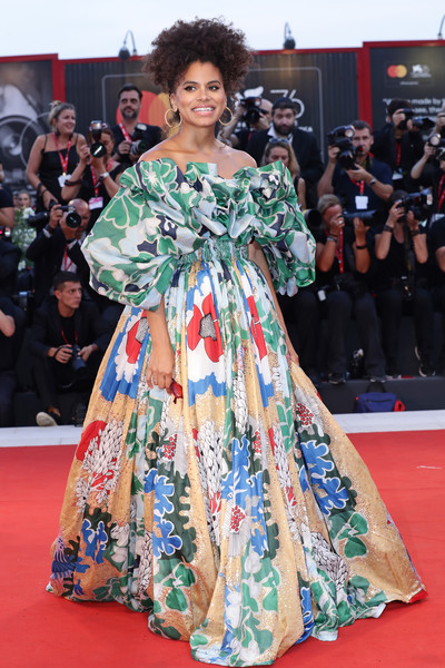 Zazie Beetz Off-the-Shoulder Dress [red carpet,clothing,carpet,flooring,fashion model,fashion,premiere,dress,hairstyle,event,red carpet arrivals,joker,zazie beetz,sala grande,red carpet,venice,italy,76th venice film festival,screening]
