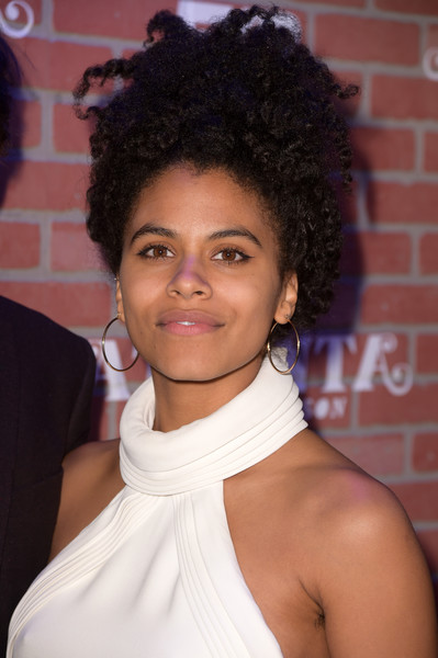 Zazie Beetz Curly Updo [atlanta robbin season,hair,hairstyle,face,eyebrow,beauty,black hair,chin,forehead,shoulder,lip,zazie beetz,california,los angeles,the theatre,ace hotel,fx,red carpet,premiere]