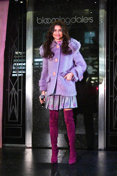 Zendaya Coleman Over the Knee Boots [clothing,fashion,pink,purple,fashion design,magenta,outerwear,fashion model,footwear,tights,zendaya,bloomingdale,new york city,holiday windows unveiling]