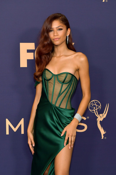 Zendaya Coleman Cuff Bracelet [clothing,fashion model,dress,cocktail dress,shoulder,strapless dress,fashion,joint,long hair,model,arrivals,zendaya,emmy awards,microsoft theater,los angeles,california]