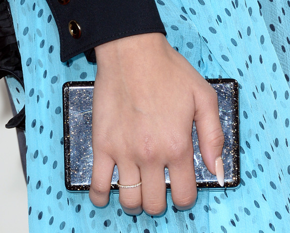 Zendaya Coleman Box Clutch [nail,finger,turquoise,hand,nail care,design,wrist,material property,fashion accessory,jewellery,arrivals,zendaya,56th grammy awards,clutch detail,staples center,los angeles,california]