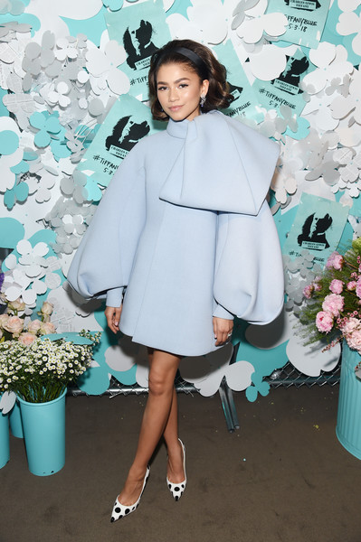 Zendaya Coleman Cocktail Dress [blue,fashion model,fashion,shoulder,outerwear,costume,girl,fashion show,joint,flooring,zendaya,believe in dreams campaign launch,new york city,tiffany co,paper flowers event,event,campaign launch,zendaya,actor,tiffany co.,new york city,tiffany event,2018 mtv movie tv awards,image,dice kayek]