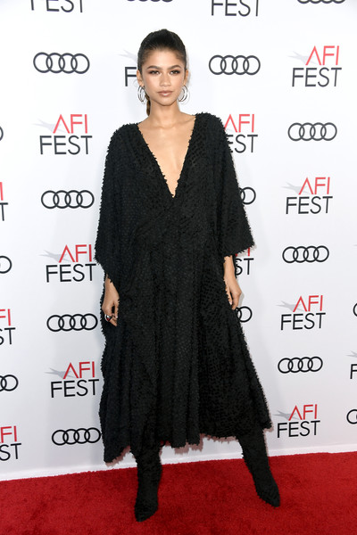 Zendaya Coleman Little Black Dress [clothing,dress,shoulder,carpet,red carpet,cocktail dress,little black dress,hairstyle,fashion,joint,arrivals,zendaya,queen,slim,red carpet,tcl chinese theatre,afi fest,queen slim,audi,premiere,zendaya,queen slim,tcl chinese theatre,afi fest,red carpet,45th e peoples choice awards,premiere,getty images,2019]