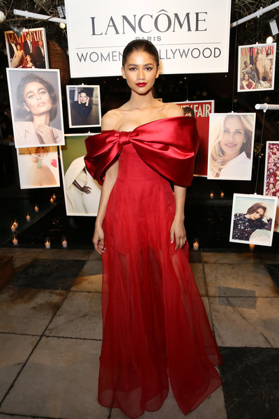 Zendaya Coleman Off-the-Shoulder Dress [vanity fair,shoulder,clothing,dress,red,fashion model,gown,beauty,fashion,hairstyle,carpet,dress,zendaya,shoulder,lanc\u00e3,fashion,clothing,lanc\u00f4me toast women in hollywood,west hollywood,fashion show,lupita nyongo,zendaya,lanc\u00f4me,fashion,celebrity,supermodel,red carpet,fashion show,shoulder]