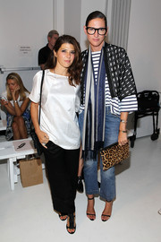 Jenna Lyons added an extra layer of print with a blue and gray scarf.