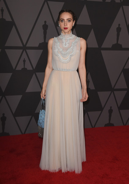Zoe Kazan Evening Dress [clothing,dress,fashion model,gown,carpet,fashion,red carpet,a-line,neck,shoulder,zoe kazan,hollywood highland center,california,the ray dolby ballroom,academy of motion picture arts and sciences,9th annual governors awards]