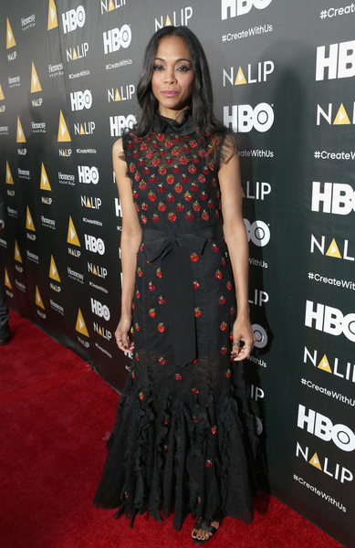 Zoe Saldana Embroidered Dress