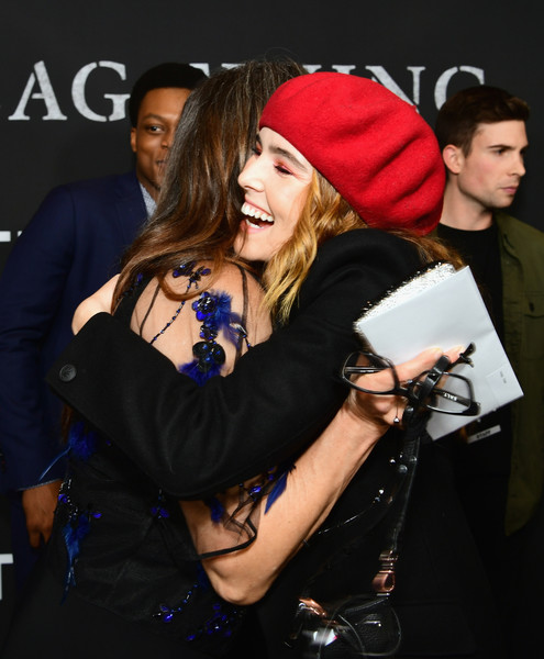 Zoey Deutch Beret [fashion,interaction,event,headgear,performance,photography,beanie,fashion accessory,cap,hat,r,zoey deutch,last flag flying,california,los angeles,dga theater,amazon,red carpet,premiere]