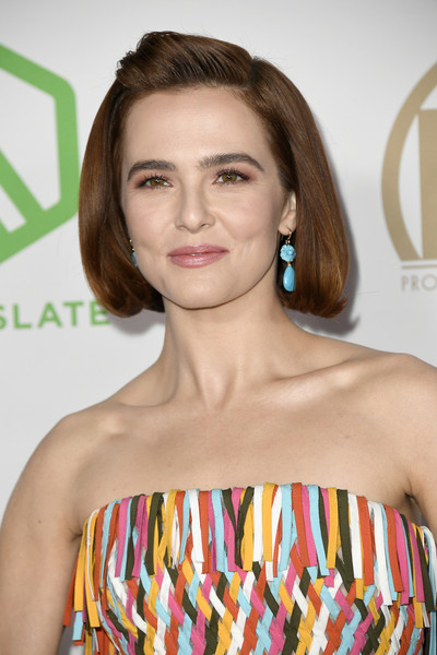 Zoey Deutch Dangling Turquiose Earrings [hair,face,hairstyle,lip,beauty,brown hair,premiere,fashion,eyelash,dress,arrivals,zoey deutch,hollywood palladium,los angeles,california,annual producers guild awards,zoey deutch,hollywood palladium,celebrity,beautiful creatures,producers guild of america award,premiere,actor,photograph,2020,producers guild of america]