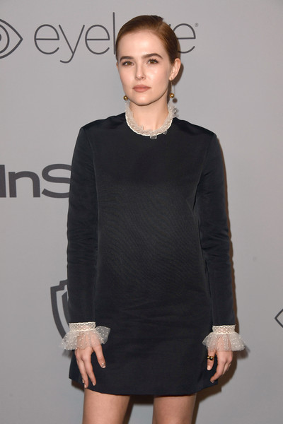 Zoey Deutch Gold Ring [clothing,dress,black,fashion model,little black dress,fashion,cocktail dress,shoulder,neck,hairstyle,arrivals,zoey deutch,beverly hills,california,the beverly hilton hotel,warner bros. pictures,instyle host,post-golden globes party]