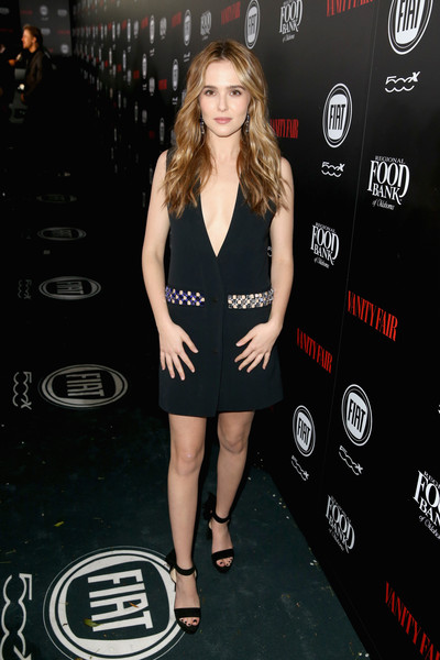 Zoey Deutch Platform Sandals [vanity fair,clothing,dress,little black dress,fashion,premiere,red carpet,carpet,long hair,model,human leg,zoey deutch,toast,young hollywood,california,los angeles,chateau marmont,fiat young hollywood celebration - red carpet,fiat]