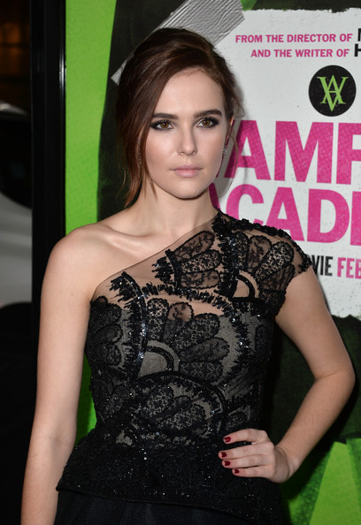 Zoey Deutch Red Nail Polish [vampire academy,hair,clothing,hairstyle,beauty,dress,shoulder,premiere,long hair,brown hair,fashion accessory,zoey deutch,california,los angeles,regal cinemas l.a. live,the weinstein company,red carpet,premiere,premiere]