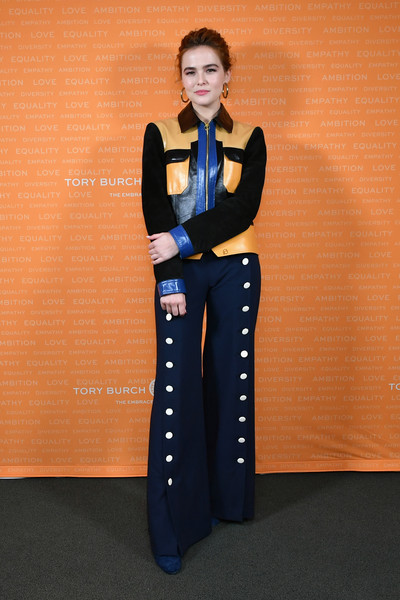 Zoey Deutch Leather Jacket [clothing,waist,fashion,trousers,leg,fashion design,electric blue,formal wear,denim,jeans,zoey deutch,new york city,alice tully hall,tory burch foundation,embrace ambition summit,tory burch foundation 2018 embrace ambition summit]