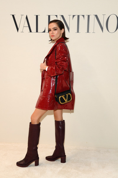 Zoey Deutch Leather Shoulder Bag [fashion model,clothing,fashion,red,footwear,riding boot,joint,knee,boot,outerwear,valentino,zoey deutch,front row,part,paris,france,paris fashion week womenswear fall,show,shoe,fashion,supermodel,model,socialite,redvalentino]