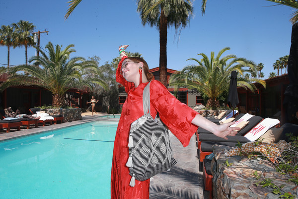 Zoey Deutch Tasseled Shoulder Bag [leisure,vacation,palm tree,tree,arecales,tourism,fun,travel,plant,swimming pool,h m,the sparrows lodge,palm springs,california,zoey deutch]