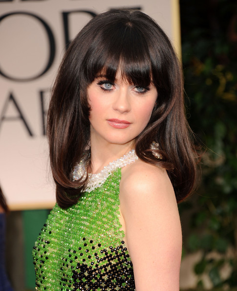 More Pics of Zooey Deschanel Long Straight Cut with Bangs  1 of 34    Zooey Deschanel Bangs Cut