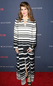 Nia Vardalos looked stylish and sophisticated in a black-and-white striped caftan during the Zooey Deschanel and Tommy Hilfiger collection debut.