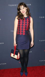 Zooey Deschanel was mod in a blue and red mini with a patterned bodice during the debut of her collection with Tommy Hilfiger.