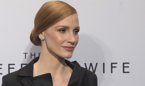 More Pics of Jessica Chastain Tuxedo Dress (1 of 12) - Dresses & Skirts Lookbook - StyleBistro [hair,face,hairstyle,eyebrow,chin,lip,beauty,skin,forehead,cheek,jessica chastain,the zookeepers wife,washington dc screening,united states holocaust memorial museum]