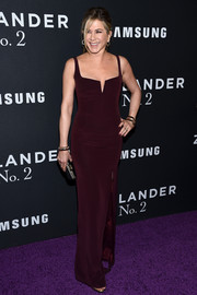 Jennifer Aniston cut a sleek silhouette in this burgundy Galvan gown, featuring an internal corset and a high side slit, at the world premiere of 'Zoolander 2.'