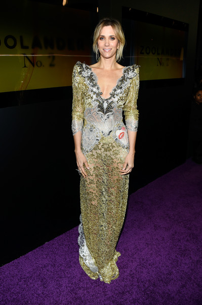 Kristen Wiig rocked a see-through olive-green and silver lace gown by Marc Jacobs at the 'Zoolander No. 2' world premiere.